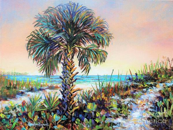 Cabbage White Painting - Cabbage Palm On Siesta Key Beach by Lou Ann Bagnall