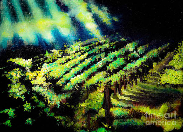 Painting - Cabernet Sauvignon At Dusk - Cartecay Vineyards - Ellijay by Jan Dappen