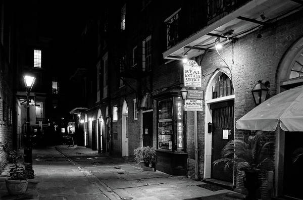 Cabildo Wall Art - Photograph - Cabildo Alley At Night In Black And White by Greg and Chrystal Mimbs