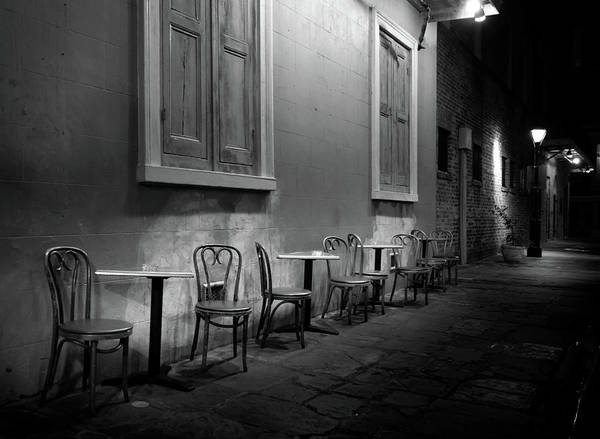 Cabildo Wall Art - Photograph - Cabildo Alley Tables In Black And White by Greg and Chrystal Mimbs