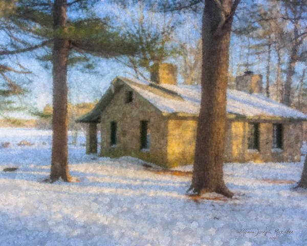 Painting - Cabin At Borderland In Winter  by Bill McEntee