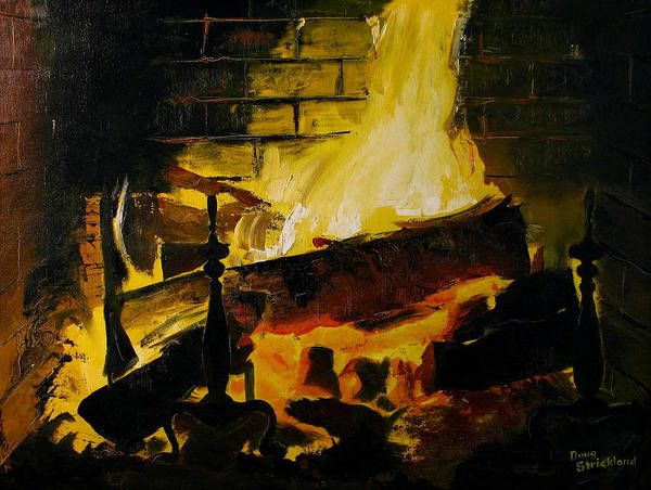 Wall Art - Painting - Cabin Fireplace by Doug Strickland