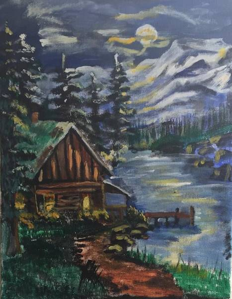 Wall Art - Painting - Cabin In The Mountains by Julie Thomas-Zucker