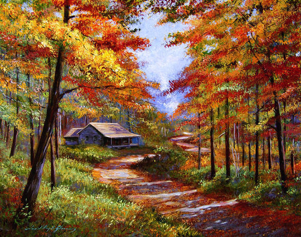 Best Selling Painting - Cabin In The Woods by David Lloyd Glover