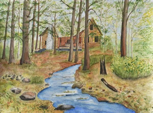 Cabin In The Woods Wall Art - Painting - Cabin In The Woods by Linda Brody