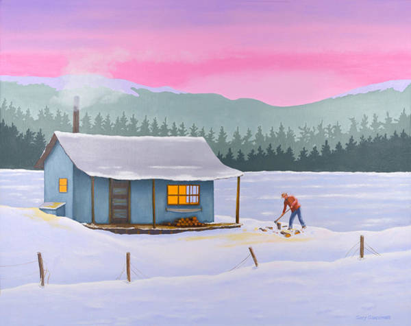 Painting - Cabin On A Frozen Lake by Gary Giacomelli