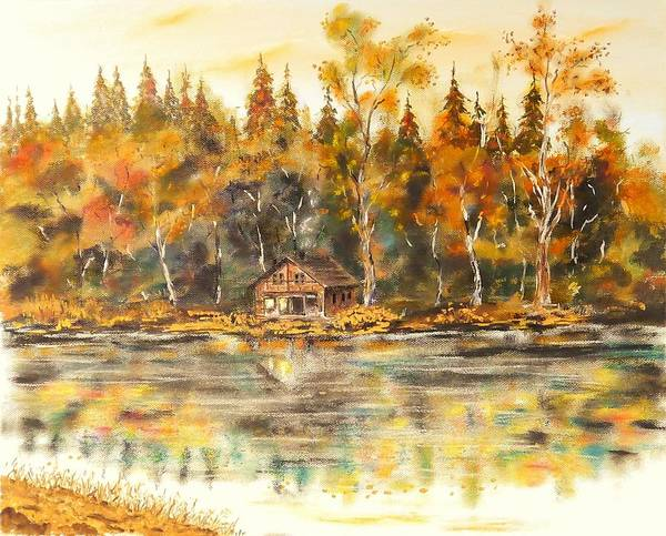 Painting - Cabin On The Lake by Joy of Life Art Gallery