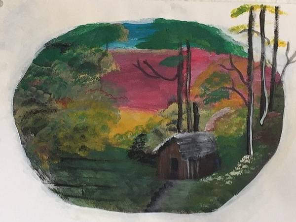 Wall Art - Painting - Cabin Oval by Julie Thomas-Zucker