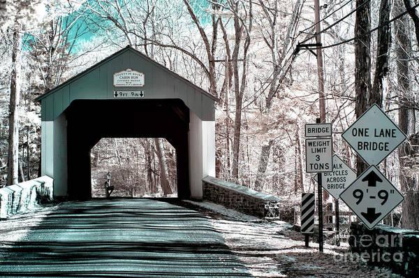 Photograph - Cabin Run Covered Bridge Infrared by John Rizzuto