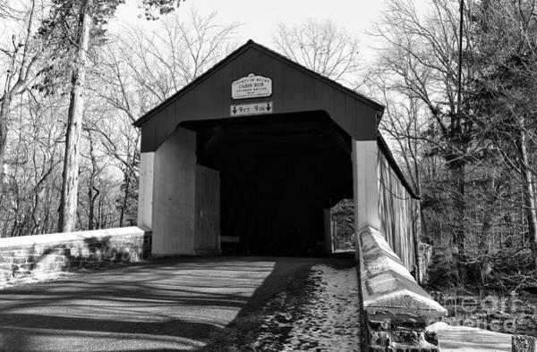 Photograph - Cabin Run Covered Bridge Mono by John Rizzuto