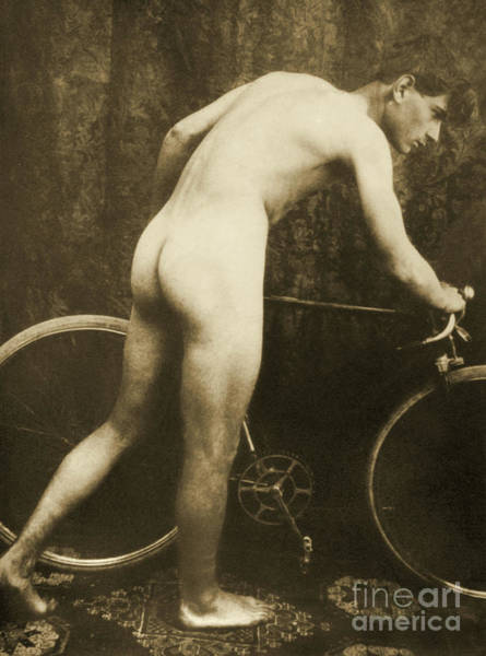 Physique Photograph - Cabinet Card Of A Naked Cyclist, Circa 1898 by German School