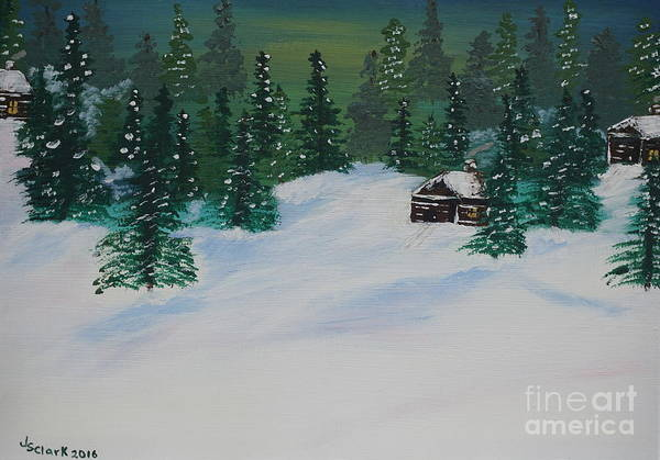 Painting - Cabins In The Woods by Jimmy Clark