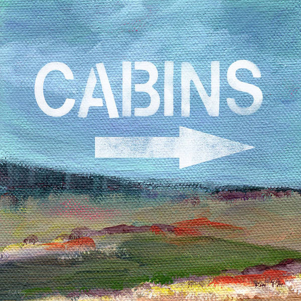 California Landscape Painting - Cabins- Landscape Painting By Linda Woods by Linda Woods
