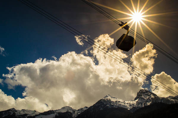 Photograph - Cable Car And Sunrays by John Williams