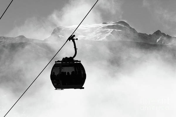 Photograph - Cable Car Cabin And Mt Mururata In Monochrome Bolivia by James Brunker