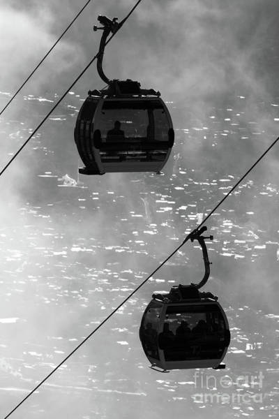 Photograph - Cable Car Cabins Above La Paz In Monochrome Bolivia by James Brunker