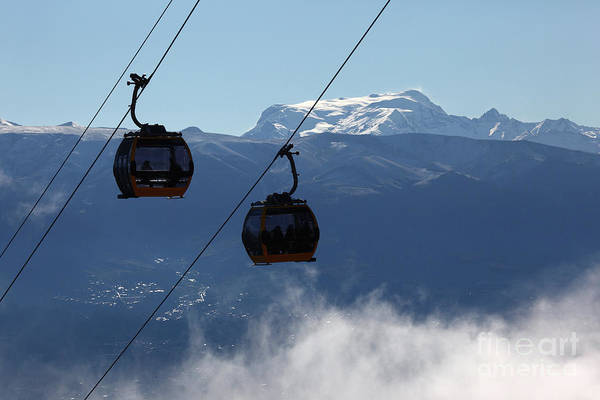 Photograph - Cable Car Cabins And Mt Mururata Bolivia by James Brunker