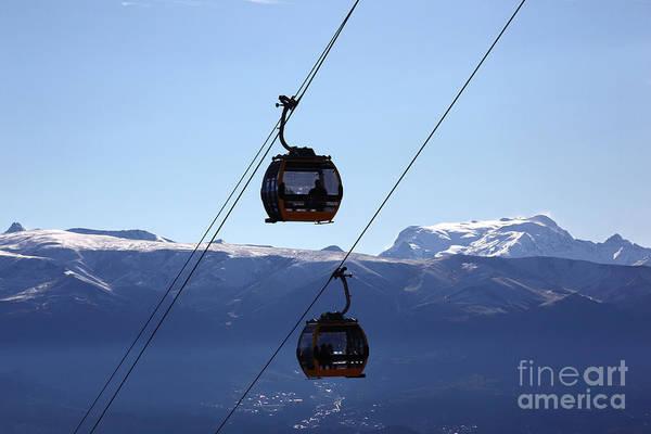 Photograph - Cable Car Gondolas And Mt Mururata Bolivia by James Brunker