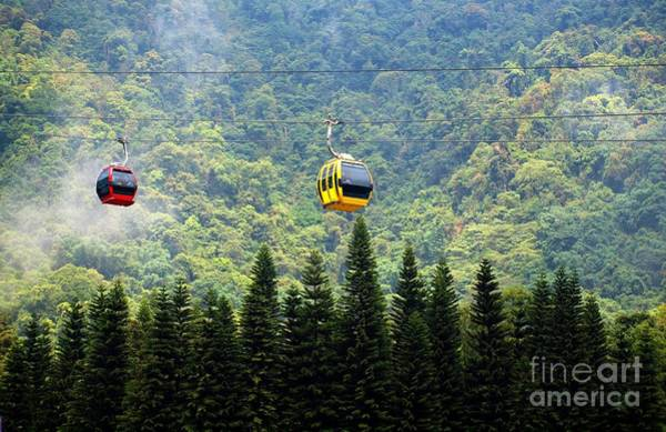 Ropeway Photograph - Cable Car Passes By A Mountain Slope by Yali Shi