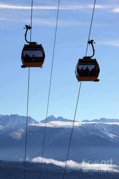 Photograph - Cable Cars And Andes Mountains After Winter Snowfall Bolivia by James Brunker
