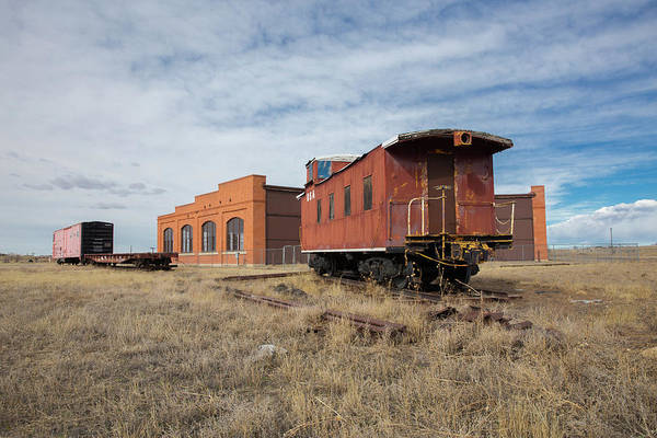 Wall Art - Photograph - Caboose And Boxcar At The Hugo Union Pacific Railroad Roundhouse by Bridget Calip