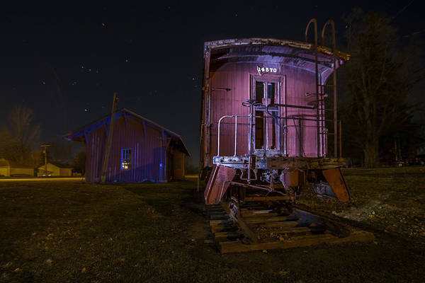 Photograph - Caboose And Depot In Rural Illinois One Starry Night by Sven Brogren