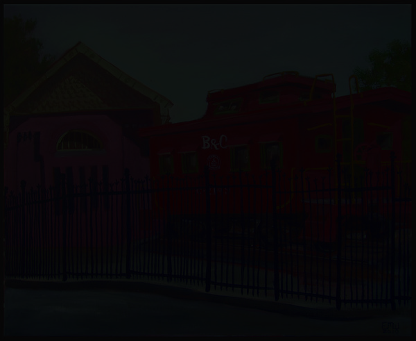 Red Caboose Painting - Caboose by Edward Williams