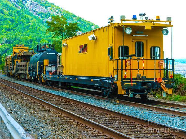 Wall Art - Photograph - Caboose Like Office Of Loram Work Train by William Rogers