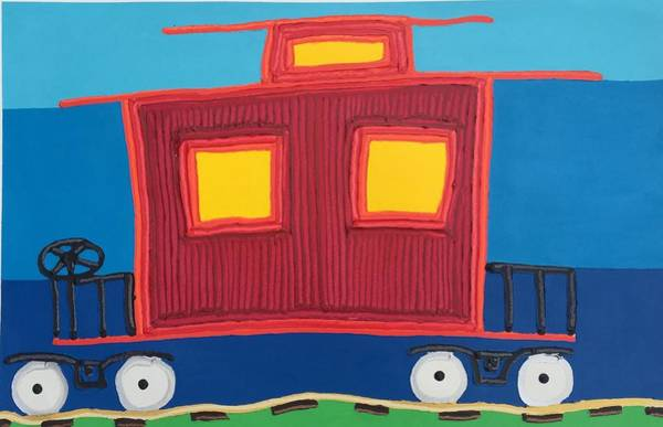 Red Caboose Painting - Caboose by Matthew Brzostoski
