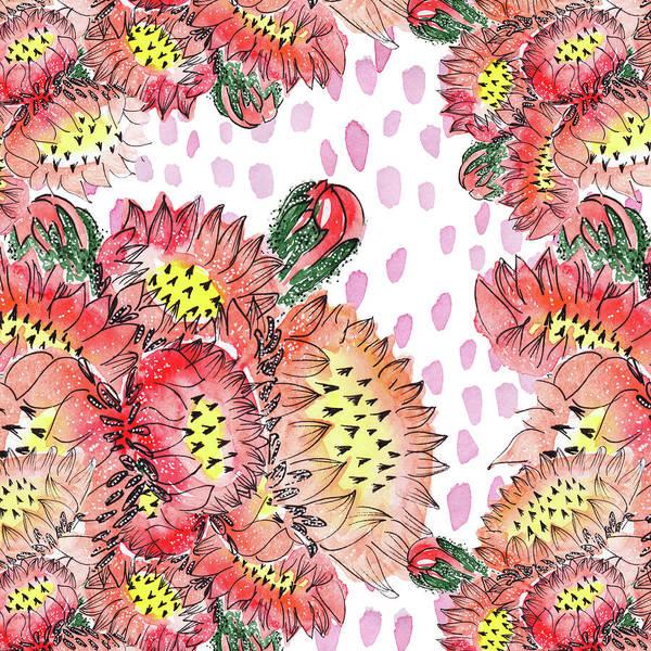 Painting - Cacti Flowers by Ekaterina Chernova