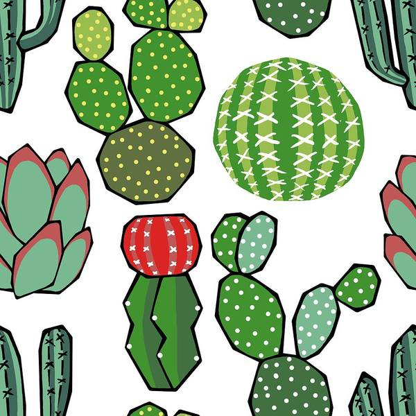 Jade Digital Art - Cacti by Kelly Jade King