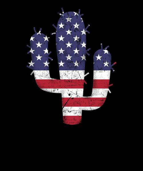 Barbeque Digital Art - Cactus American Flag Usa Patriotic 4th Of July Gift by Michael S