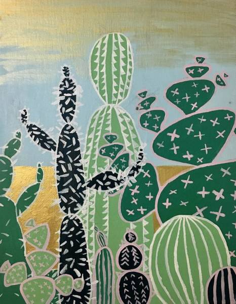 Dial Painting - Cactus Friends  by Morgan Dial