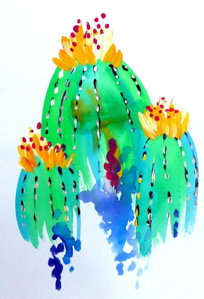 Blob Painting - Cactus In Watercolor by Cathy Jacobs