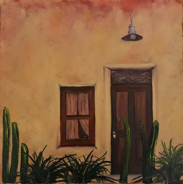 Painting -  Cactus On Guard Duty Barrio        8 by Cheryl Nancy Ann Gordon
