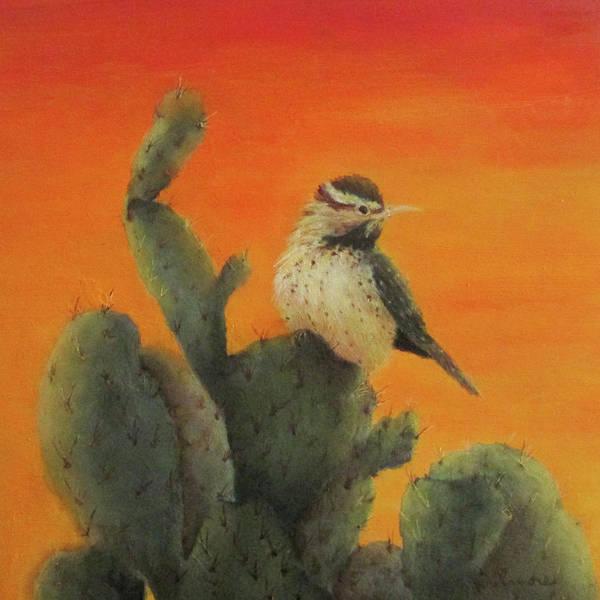 Cactus Wren Wall Art - Painting - Cactus Wren by Roseann Gilmore