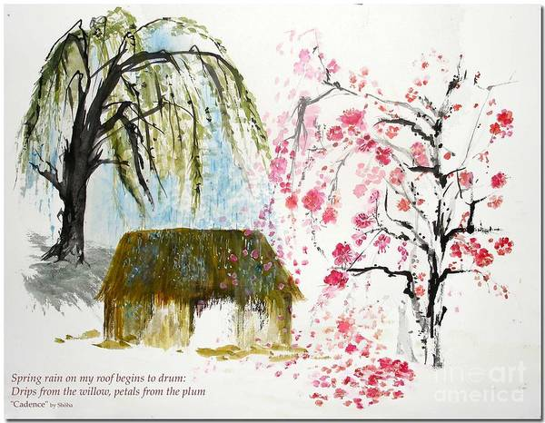 Japanese Poetry Painting - Cadence by Sibby S