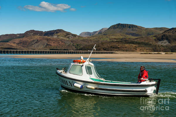 Photograph - Cader Idris And A Small Ferry Boat On The  Mawddach Estuary, Wales Uk by Keith Morris