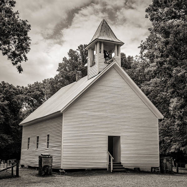 Missionary Photograph - Cades Cove Primitive Baptist Church - Toned Bw by Stephen Stookey