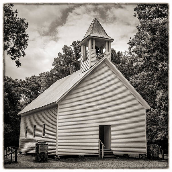 Missionary Photograph - Cades Cove Primitive Baptist Church - Toned Bw W Border by Stephen Stookey