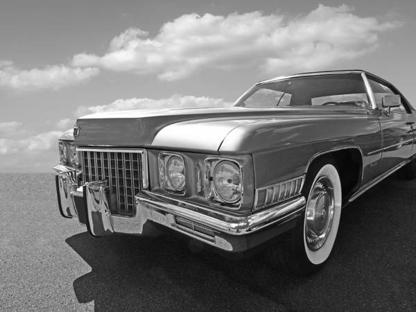 Photograph - Cadillac Coupe De Ville 1971 In Black And White by Gill Billington
