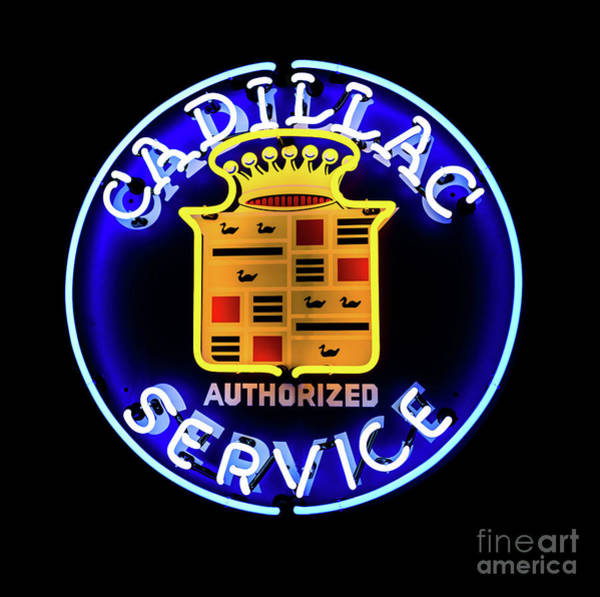 Photograph - Cadillac Neon Sign by Miles Whittingham