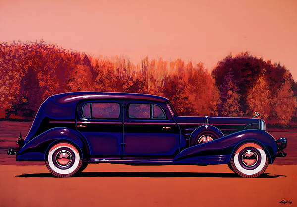 Painting - Cadillac V16 Custom Imperial 1937 Painting by Paul Meijering