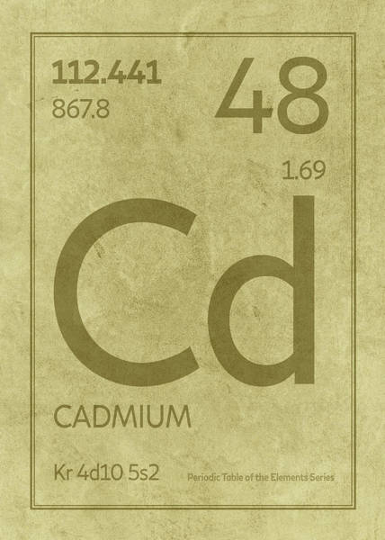 Elements Mixed Media - Cadmium Element Symbol Periodic Table Series 048 by Design Turnpike
