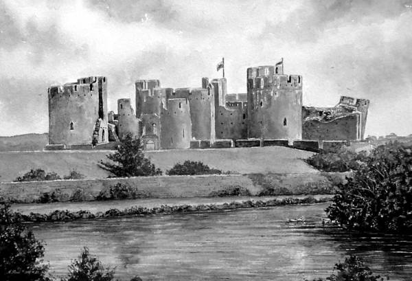 Grey Skies Drawing - Caerphilly Castle Bw by Andrew Read