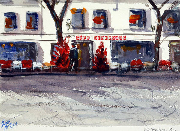Wall Art - Painting - Cafe Beaubourg by James Nyika