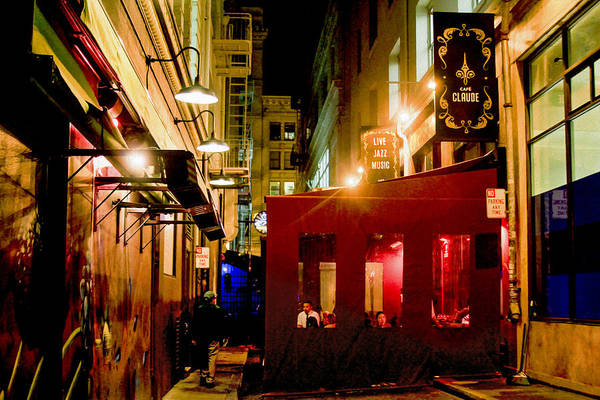 Photograph - Cafe Claude At Night by Bonnie Follett