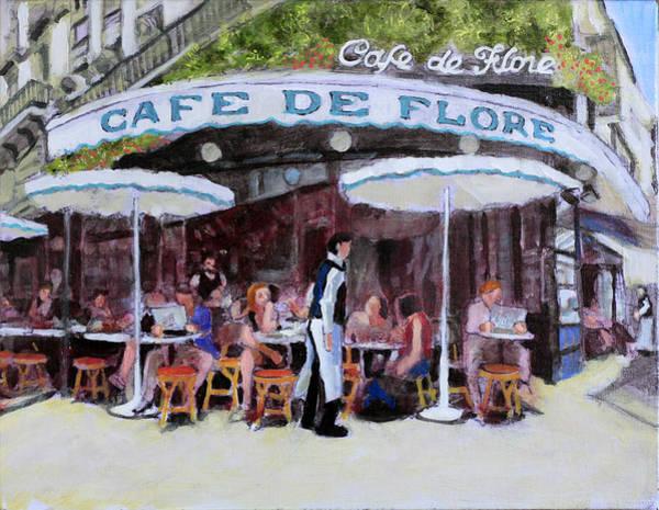 Dining Al Fresco Painting - Cafe De Flore by David Zimmerman