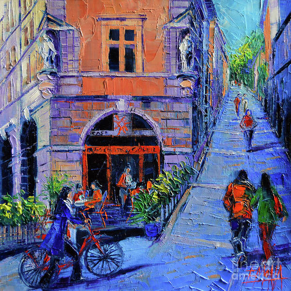 Impressionism Mixed Media - Cafe Du Soleil Lyon by Mona Edulesco