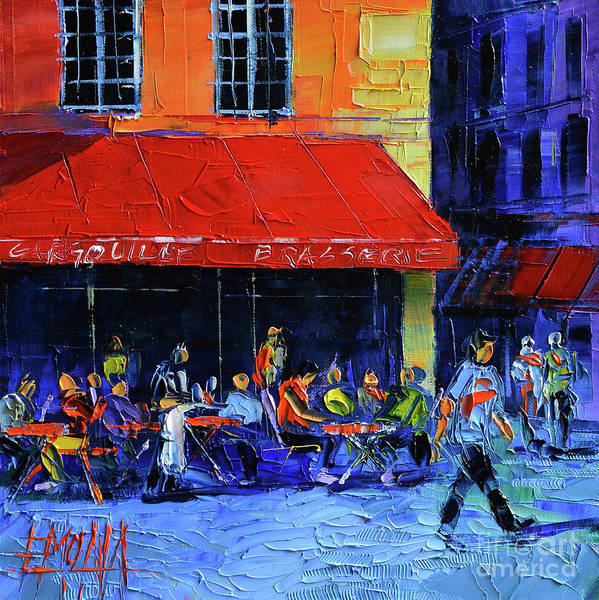 Urban Expressions Wall Art - Painting - Cafe Gargouille by Mona Edulesco